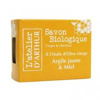 L'Atelier d'Arthur Savon Huile Olive-Argile Jaune et Miel Bio