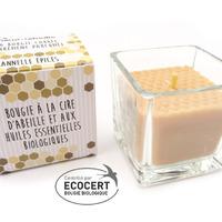 Cœur d'abeille Bougie carrée Cannelle épices Bio