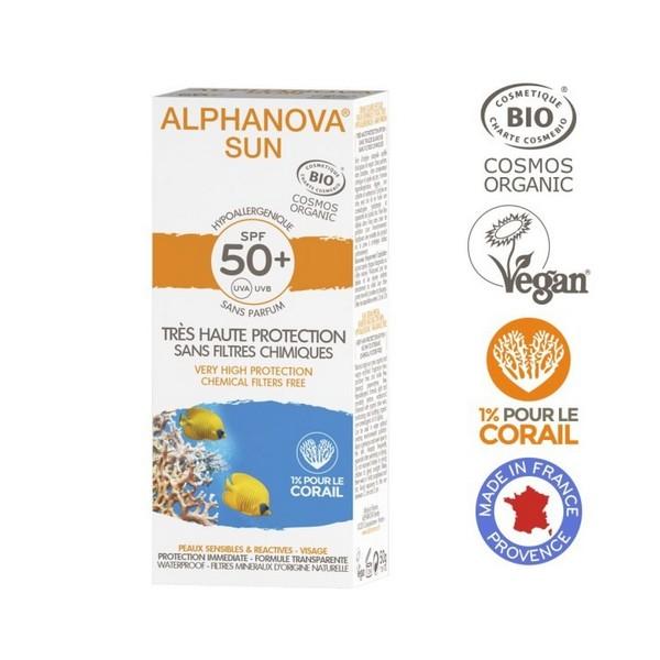 Crème solaire SPF50 Bio Alphanova hypoallergénique