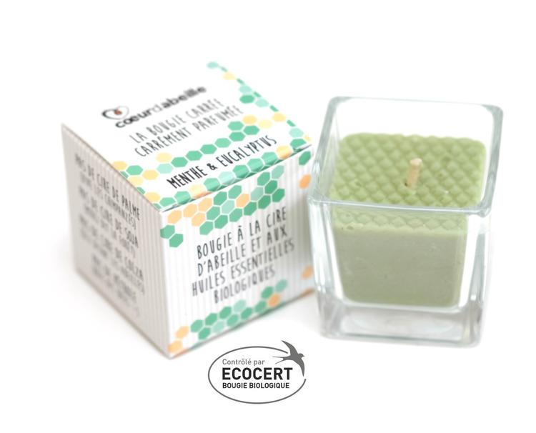 Bougie carrée parfumée à la Menthe Bio Cœur d'abeille rechargeable